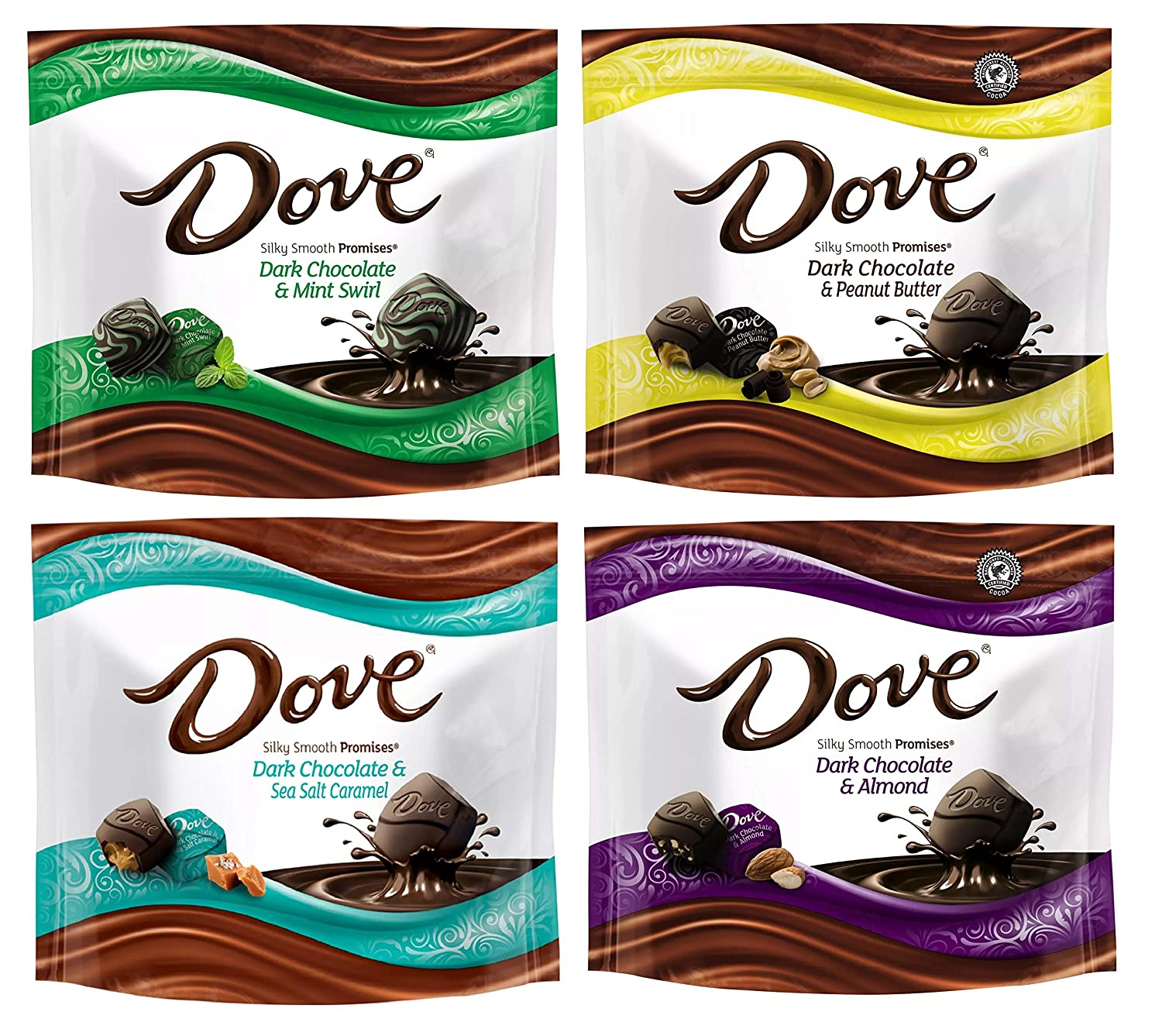 Dove Silky Smooth Promises 7.6 Oz Chocolate Candies - Ultimate Dark Variety 4 Pack (Mint Swirl, Peanut Butter, Sea Salt Caramel, Almond)