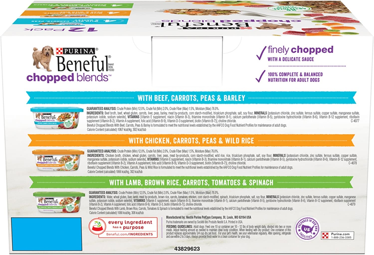 Purina Beneful Chopped Blends Adult Wet Dog Food Variety Pack – 12 10 oz. Tubs