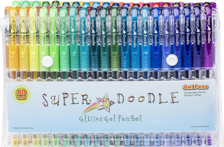 Super Doodle bolígrafos de gel con brillantina – 80 exclusivo con purpurina colores – artista calidad Gel Pen Set para adulto libros para colorear, artes y manualidades para niños, álbumes de recortes,