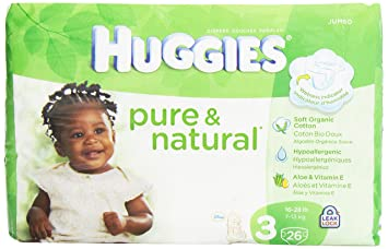 Huggies Pure and Natural Diapers, Size 3, Jumbo, 26 ct