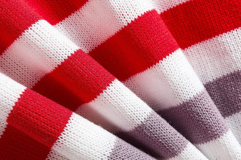 Agitation Girls Color Block Stripe Casual Sweater
