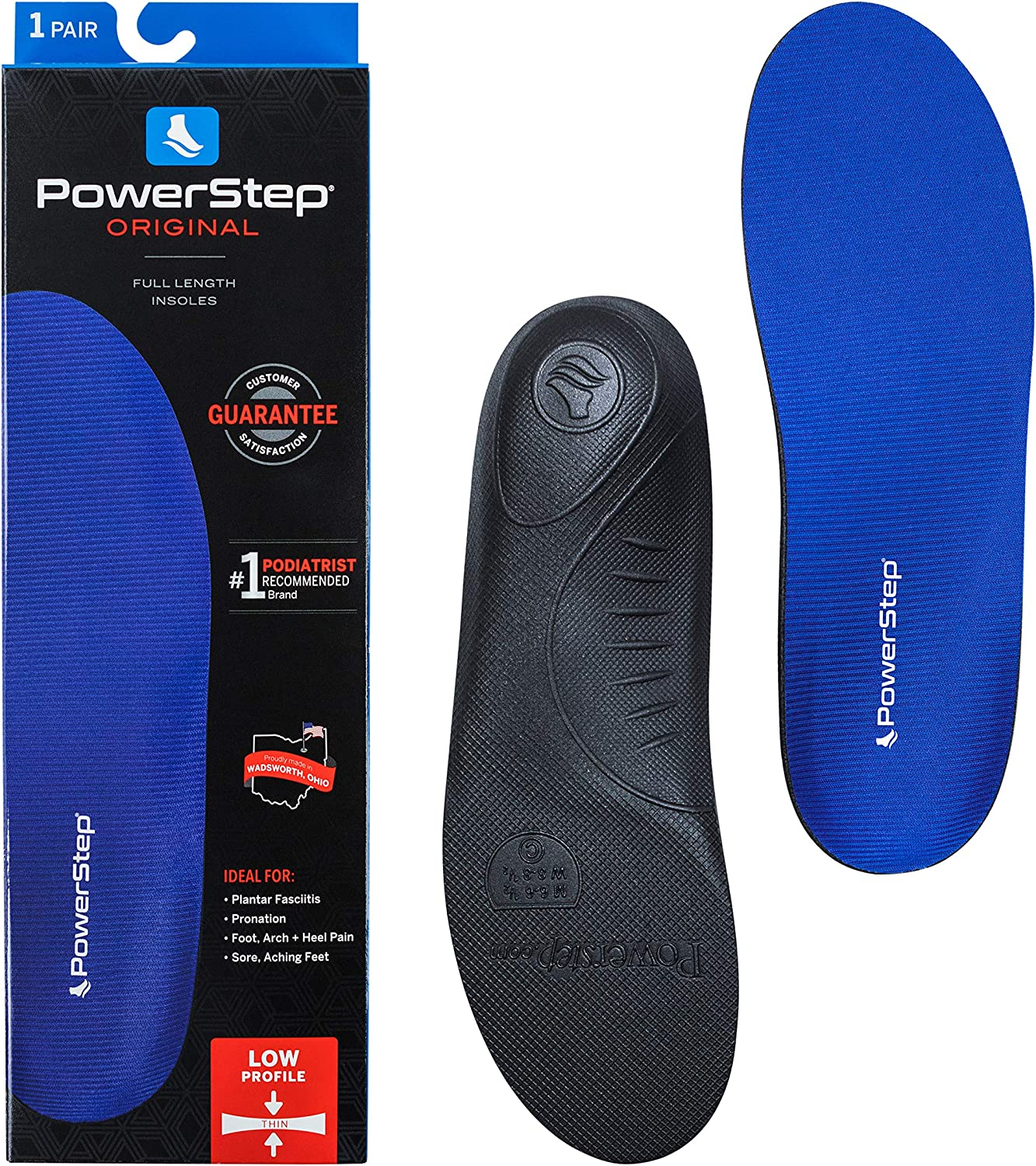 PowerStep Original Insoles, Low Profile Arch Supporting Shoe Insert, Insoles Designed to Relieve and Prevent Foot Pain