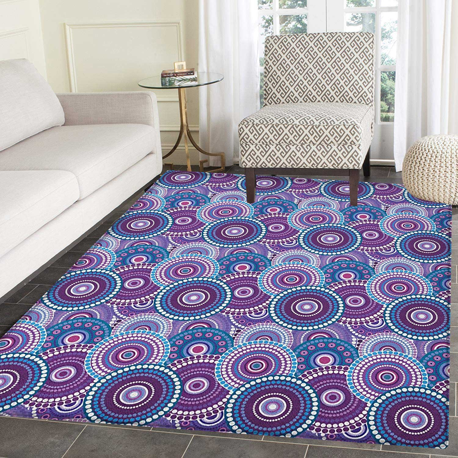 amazon com purple area rug carpet retro circular arrangement with rh amazon com
