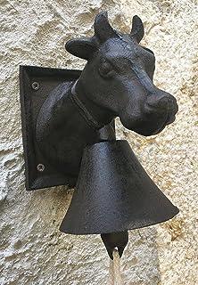 Caren Design - Campana de hierro fundido con cabeza de vaca (tornillería de color óxido
