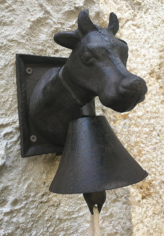 Campana de hierro fundido con cabeza de vaca