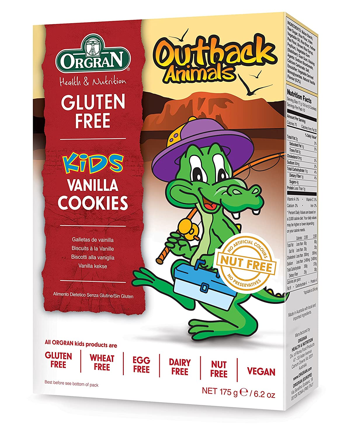 Orgran Free From Outback Animals Vanilla Cookies 175 g (Pack ...