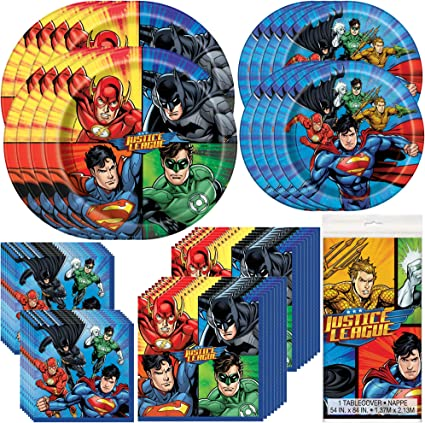 Cups Napkins Small Plates FAKKOS Design DC Comics Justice League Superheros Birthday Party Supplies Pack Bundle Serves 16: Large Plates Table Cover /& Premium Plastic Cutlery Banner