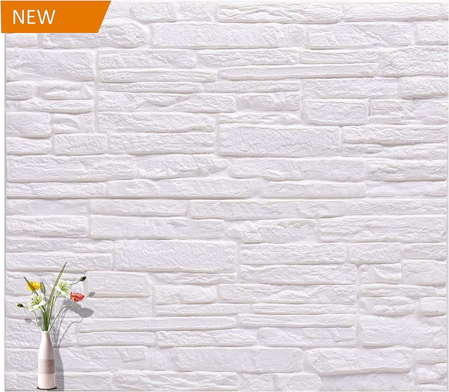 amerlife 3d wallpaper rustic brick wall panel self adhesive stacked stone tiles half inch thickness soft pe foam wallpaper white 27 56 l x 23 62 w