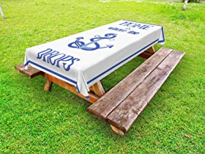 Lunarable Nautical Outdoor Tablecloth, Home is Where The Anchor Drops Words Nautical Rope Watercolors Frame, Decorative Washable Picnic Table Cloth, 58