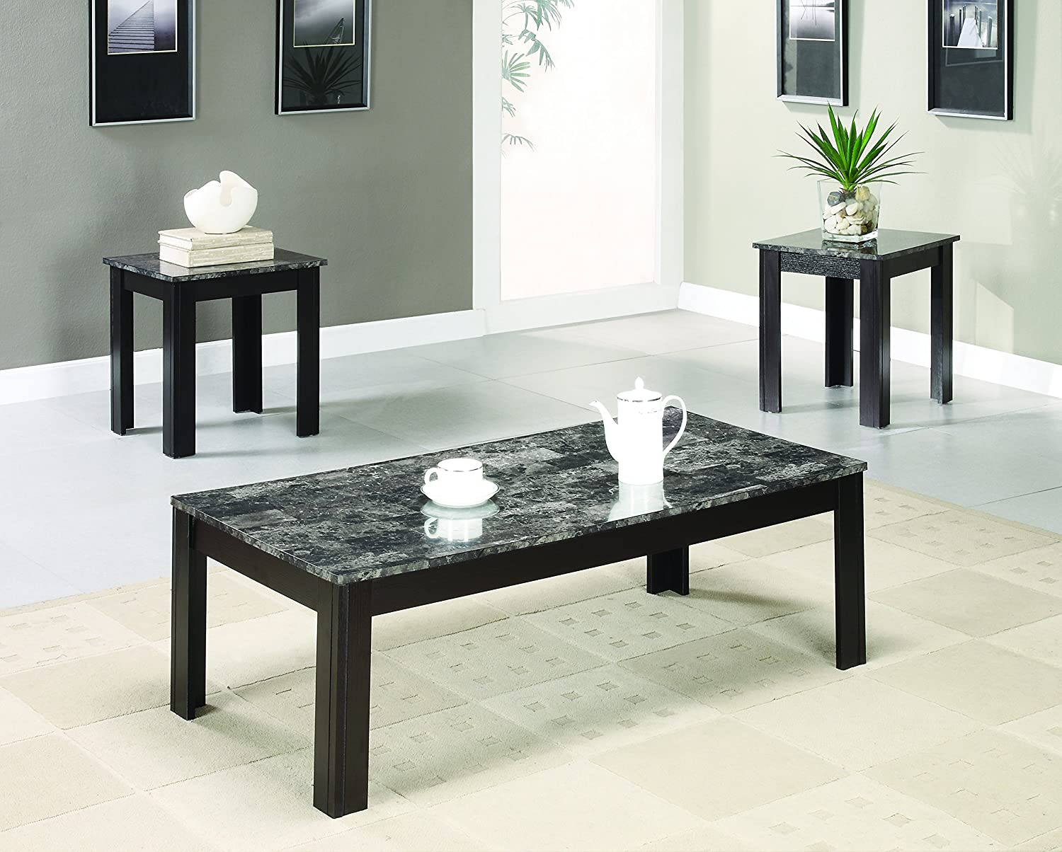 Coaster Fine Furniture 700395 3 Piece Coffee Table & End Table Set, Marble, Medium 700395ii