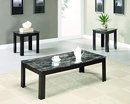 Delicieux Coaster Transitional Black Three Piece Occasional Table Set With Marble  Look Top