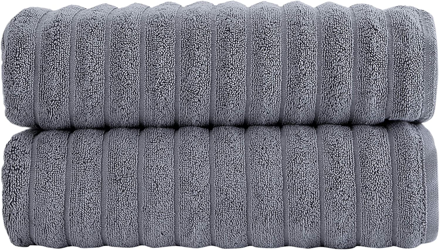 Classic Turkish Towels Luxury Ribbed Bath Towels - Soft Thick Jacquard Woven 2 Piece Bath Set Made with 100% Turkish Cotton (Grey, 27x54 Bath Towels)