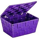 WENKO 22201100 Panier de Rangement avec Couvercle Adria Violet, Polypropylène, 19 x 10 x 14 cm