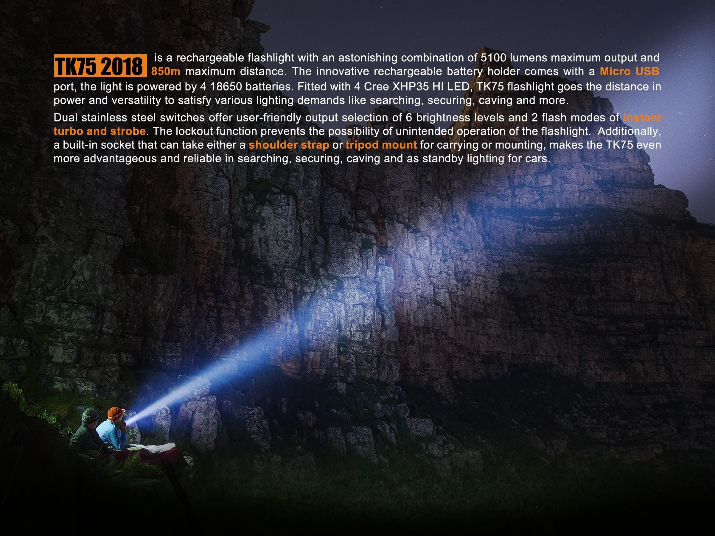 Fenix TK75 2018 5100 Lumens High-Performance Long-Throw Micro-USB Rechargeable Flashlight, 4x 3500mAh 18650 Rechargeable Batteries, 2x Lumen Tactical Battery Organizers by Fenix (Image #4)