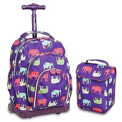 Purple Lollipop Elephant Rolling Backpack, Character Pattern, Aluminum Plastic well-wreapped
