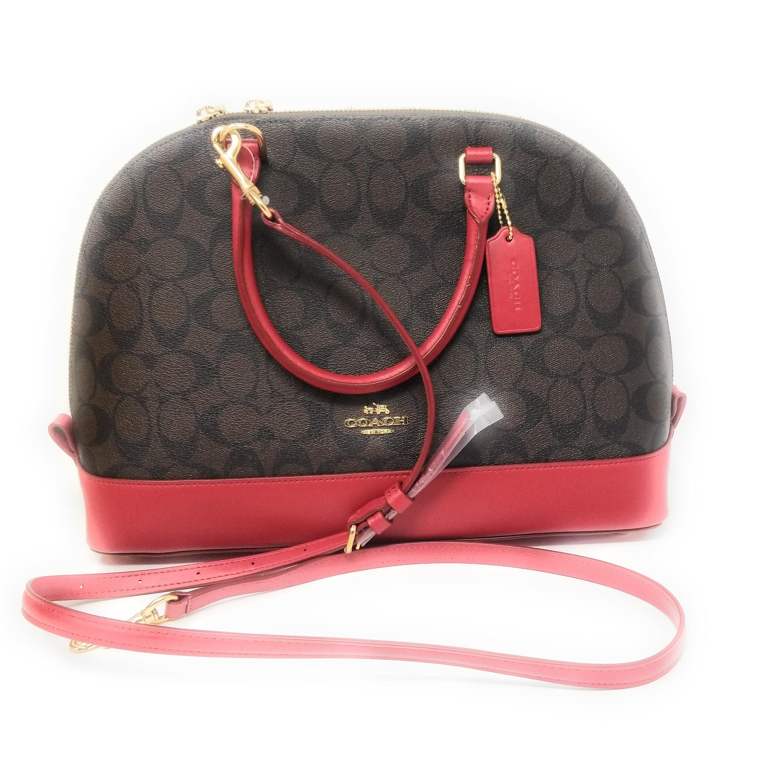 Coach Signature Sierra Satchel Crossbody Bag Purse Handbag (Brown /True Red)