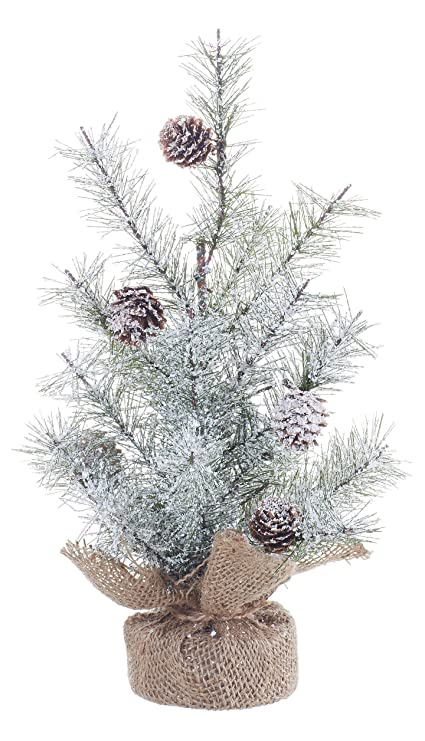 small icy pine and burlap pedestal 12 inch artificial christmas tree decoration