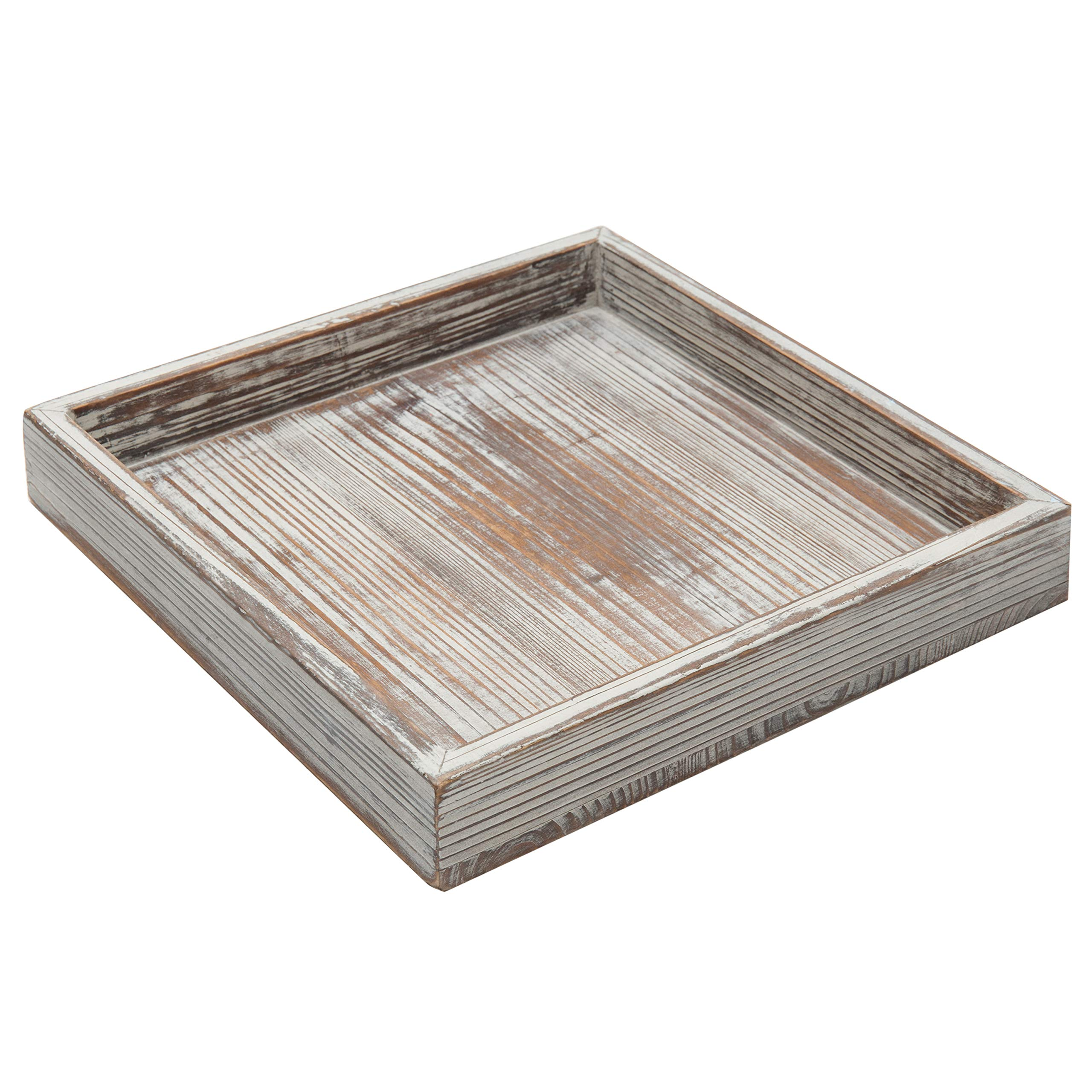 MyGift 10 inch Torched Wood Decorative Tray, Ottoman Coffee Table Accent