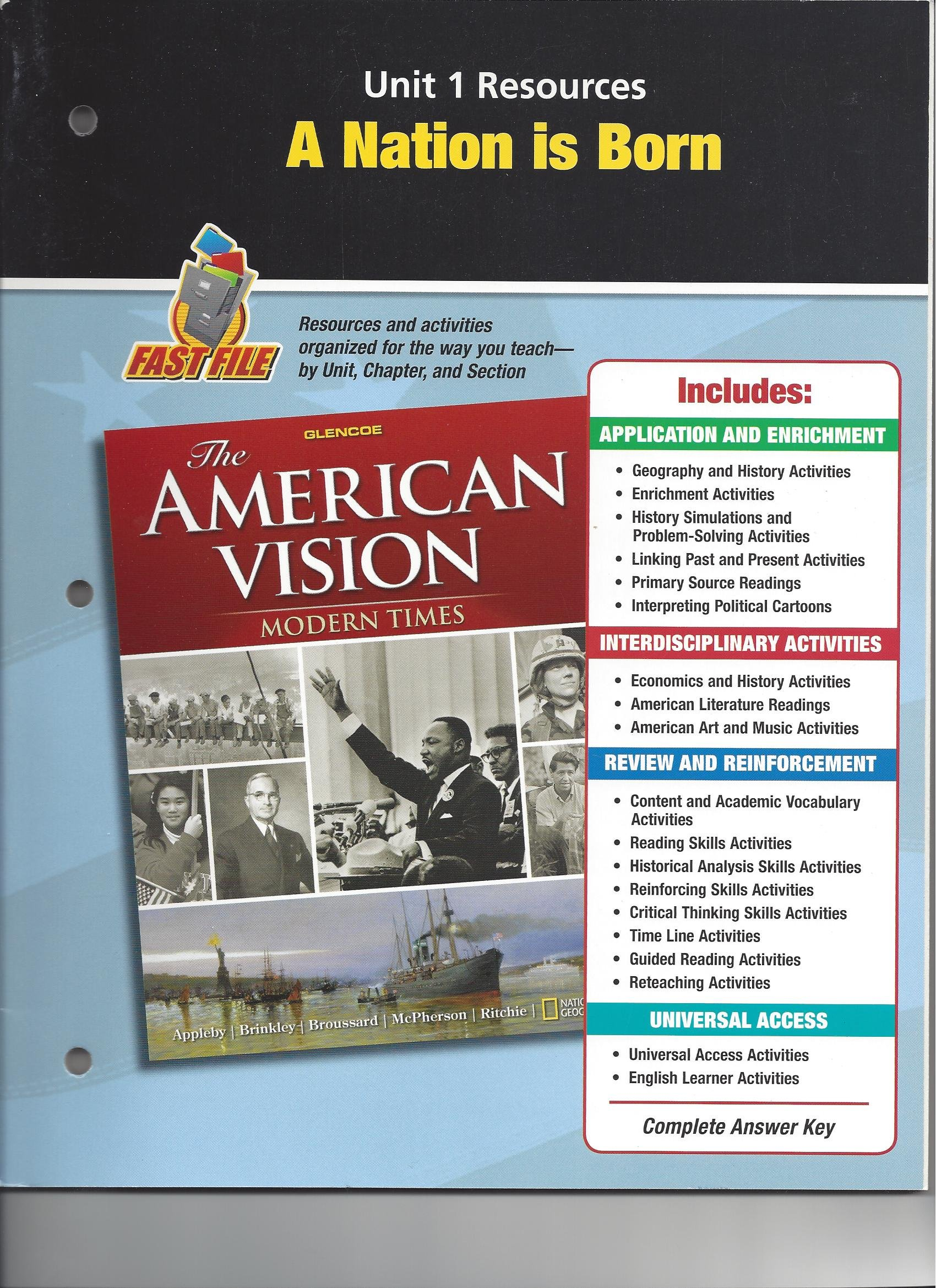unit 1 resources a nation is born fast file american vision modern rh amazon com the american vision modern times guided reading activity answers The American Vision Glencoe McGraw-Hill