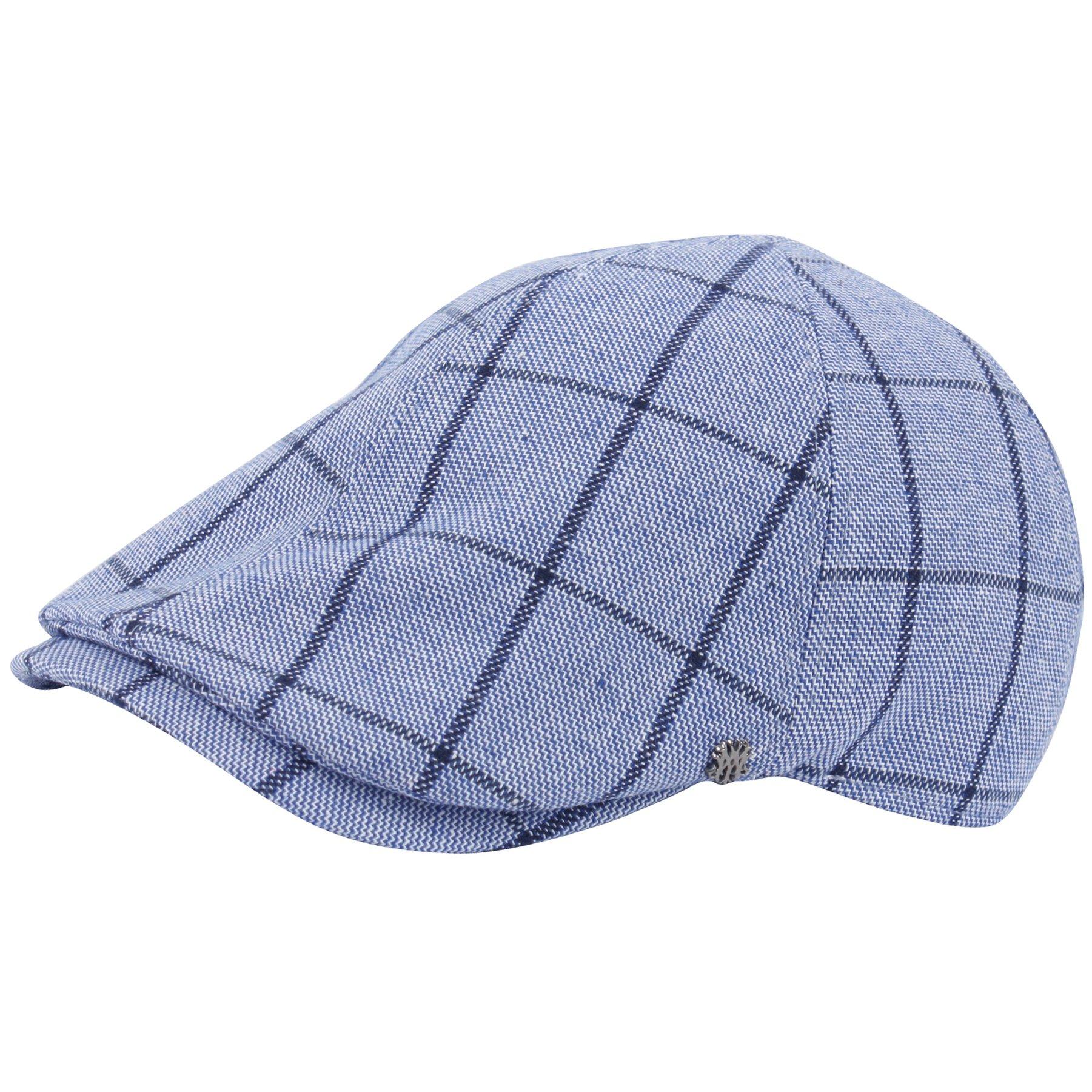 RaOn G96 newsboy Cap Daily Irish Check Pattern Summer Cool Plus Big Size XL XXL Hat (Blue)