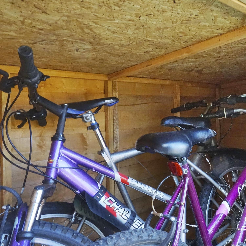 Depósito para bicicletas para jardín, de 122 x 183 cm, de maderas superpuestas, con puertas dobles y techo abovedado de fieltro, cobertizo de jardín: ...