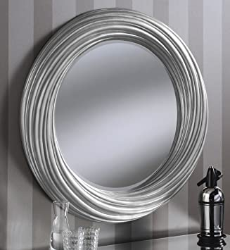 Adele Large Round New Modern Wall Mirror Silver Frame Art Deco