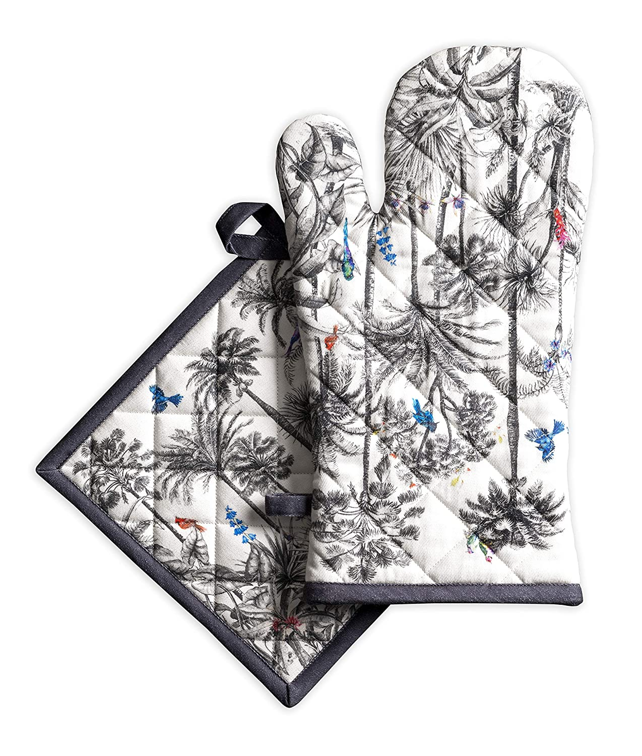 Maison d' Hermine Amazonia 100% Cotton Set of Oven Mitt (7.5 Inch by 13 Inch) and Pot Holder (8 Inch by 8 Inch).