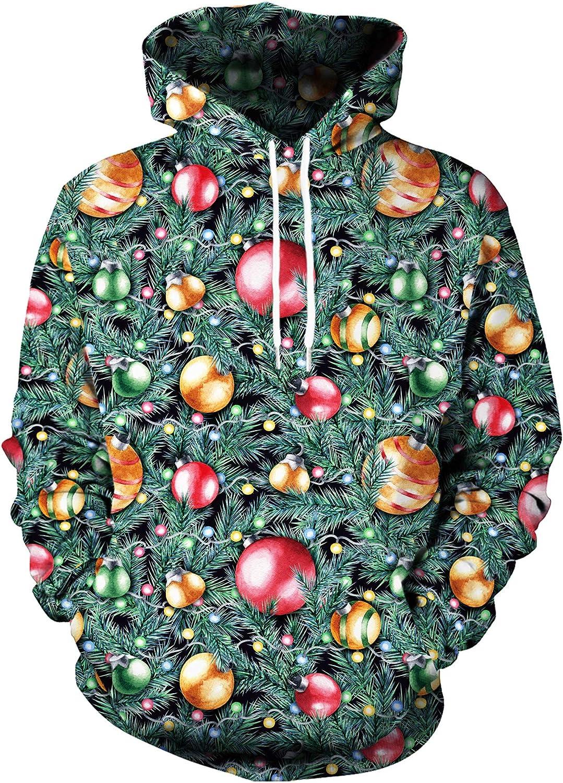 GLUDEAR Men's Ugly Christmas 3D Printed Hoodie Hoodies Sweatshirt