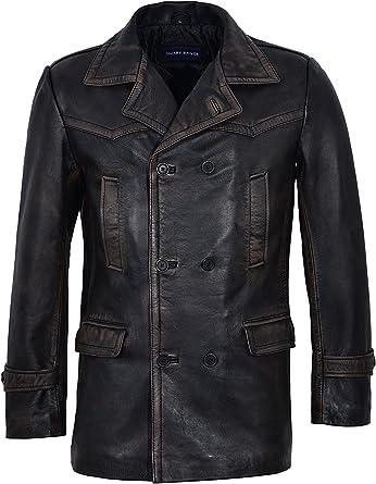 Men/'s Double Breasted Black Vintage World War II Real Leather Coat Jacket Dr WHO