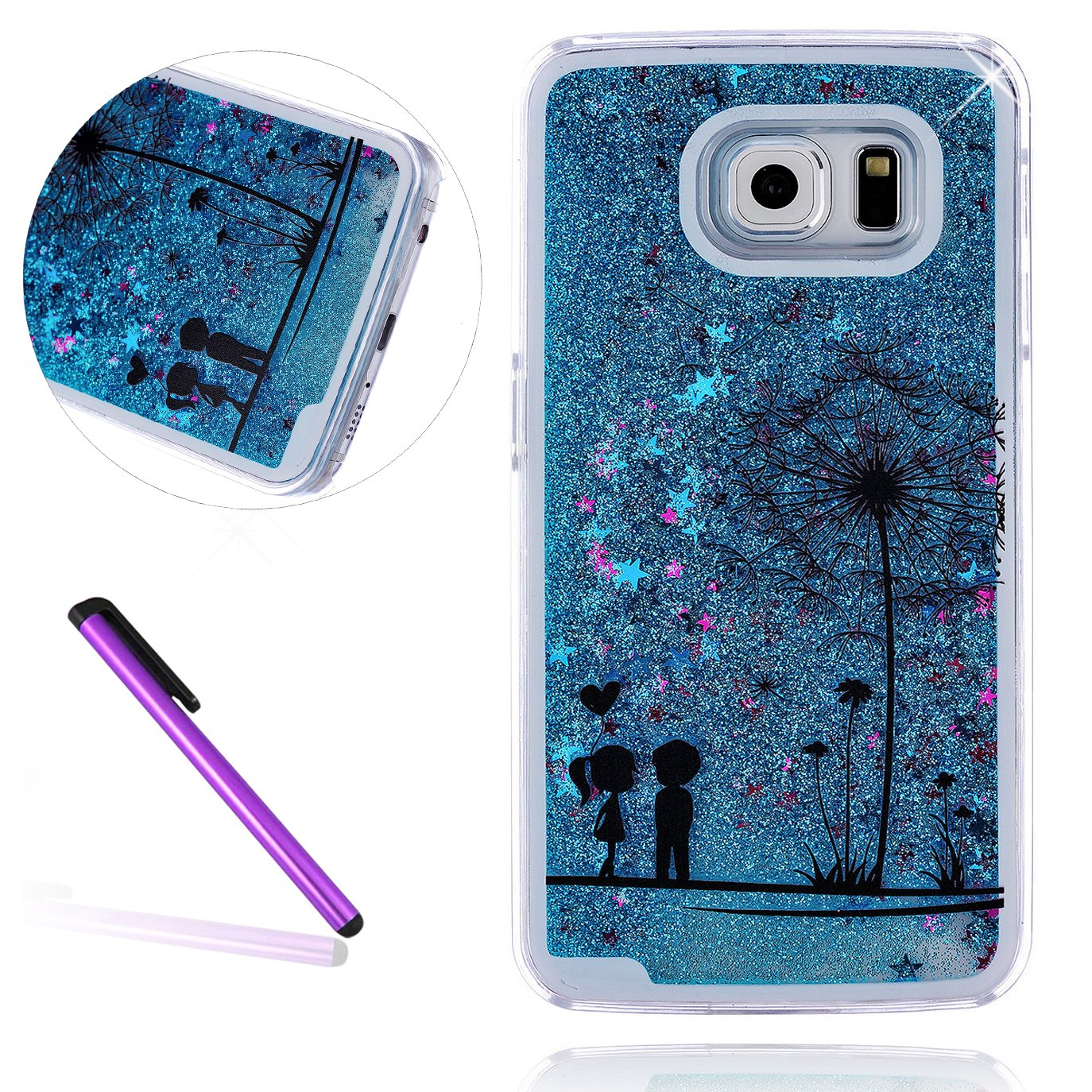 EMAXELERS Samsung Galaxy S7 Coque 2016 Bling Diamnt Glitter Cristal Slim Liquied Liquid Flowing Souple PC Bumper Cas ouverture Etui pour Samsung Galaxy S7, Silver Liquid-Wearing Colorful Dress Girl