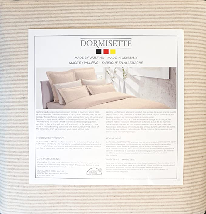 Dormisette Germany Bedding 3 Piece King Size Luxury Flannel Duvet Cover Set Beige Lines on a Cream / Off-White Background
