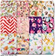 Littles & Bloomz, Reusable Pocket Cloth Nappy, Fastener: Popper, Set of 12, Patterns 1202, With 12 Microfibre and 12 Bamboo Inserts