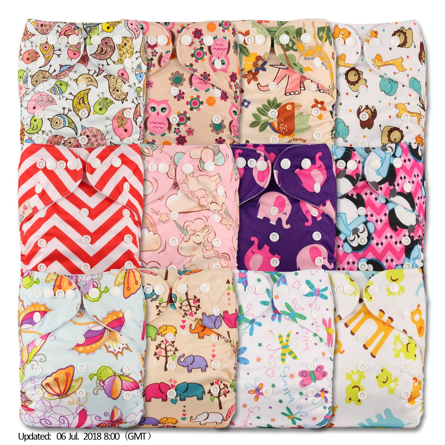 Littles & Bloomz, Reusable Pocket Cloth Nappy, Fastener: Popper, Set of 12, Patterns 1202, Without Insert YellowBloom