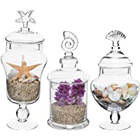 MyGift Set of 3 Seashell Handle Clear Glass Apothecary Jars/Food Storage Canisters/Decorative Centerpieces