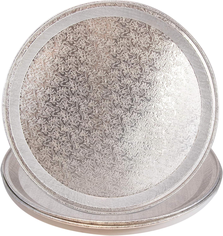 3 Serving Tray Platters Elegant Aluminum Round Disposable Plastic Alternative