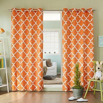 Best Home Fashion Moroccan Print Velvet Curtains   Stainless Steel Nickel  Grommet Top   Orange