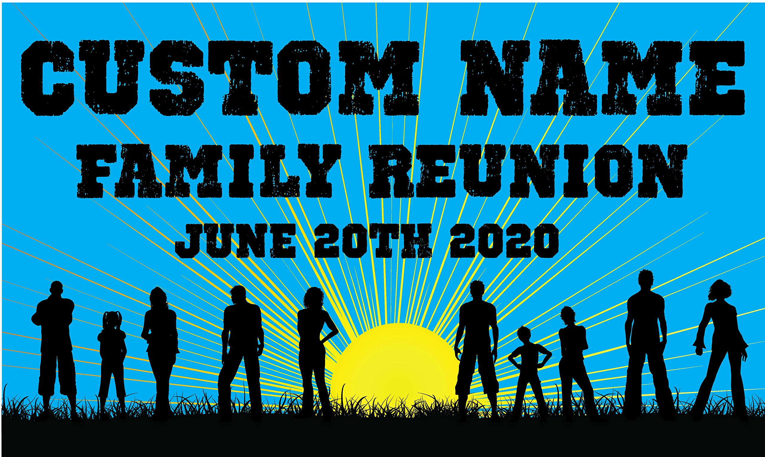 Family Reunion Custom Printed Banner - Blue Rays (10' x 5') by Reliable Banner Sign Supply & Printing