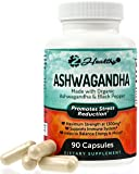 Organic Ashwagandha Capsules 1300mg - Premium Root Powder Supplement for Stress Relief, Anxiety Support & Mood - Better Absorption w/ Black Pepper Extract - 90 Vegan Pills
