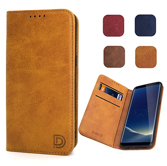 huge discount 4726f d5c21 Samsung Galaxy S8 Case, Samsung Galaxy S8 Flip Case in Khaki for Men, Dekii  [Strong Magnetic No Buckle] Leather Wallet Case with Credit Card Slots for  ...