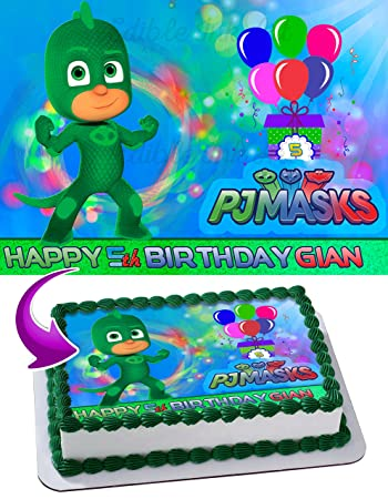 Gekko PJ MASKS Edible Image Cake Topper Personalized Icing Sugar Paper A4 Sheet Edible Frosting Photo