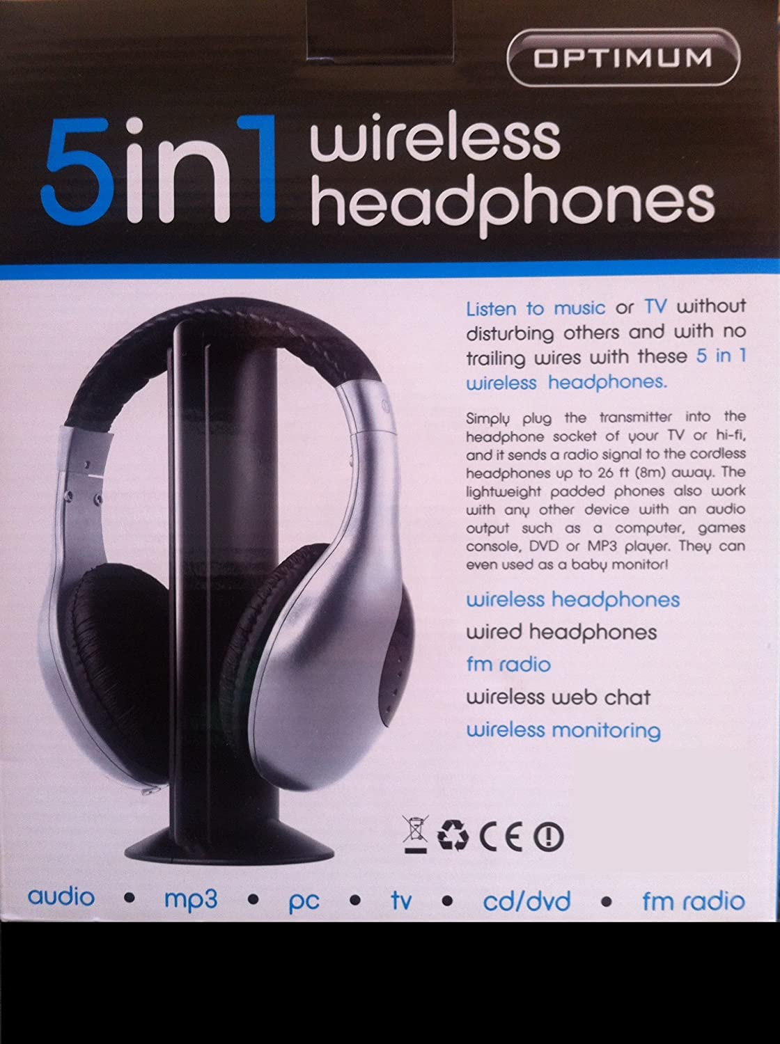 OPTIMUM 5in1 WIRELESS HEADPHONES - PN:257029: Amazon co uk