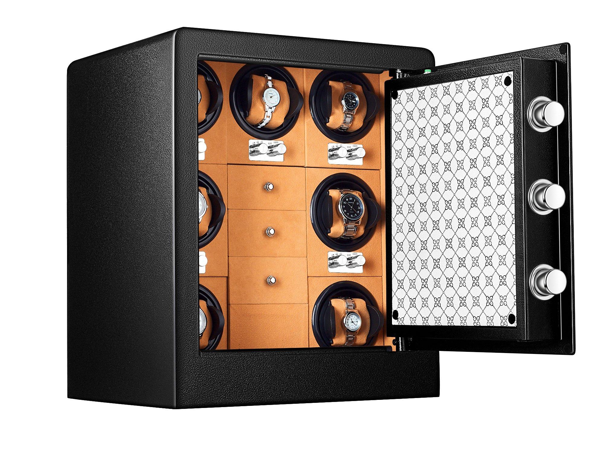 JQUEEN 7 Watch Winder Safe Box with Fingerprint Safe Cabinet, 1.85-Cubic Feet by JQUEEN (Image #2)