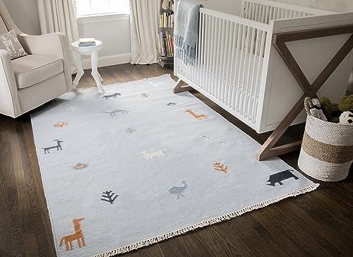 Erin Gates by Momeni Thompson Porter Blue Hand Woven Wool Area Rug 7 6 X 9 6