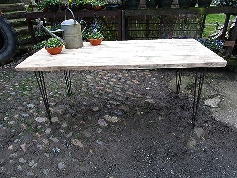 Tavoli In Legno Rustici : Tavolo da pranzo industriale forcina con gambe in legno riciclato