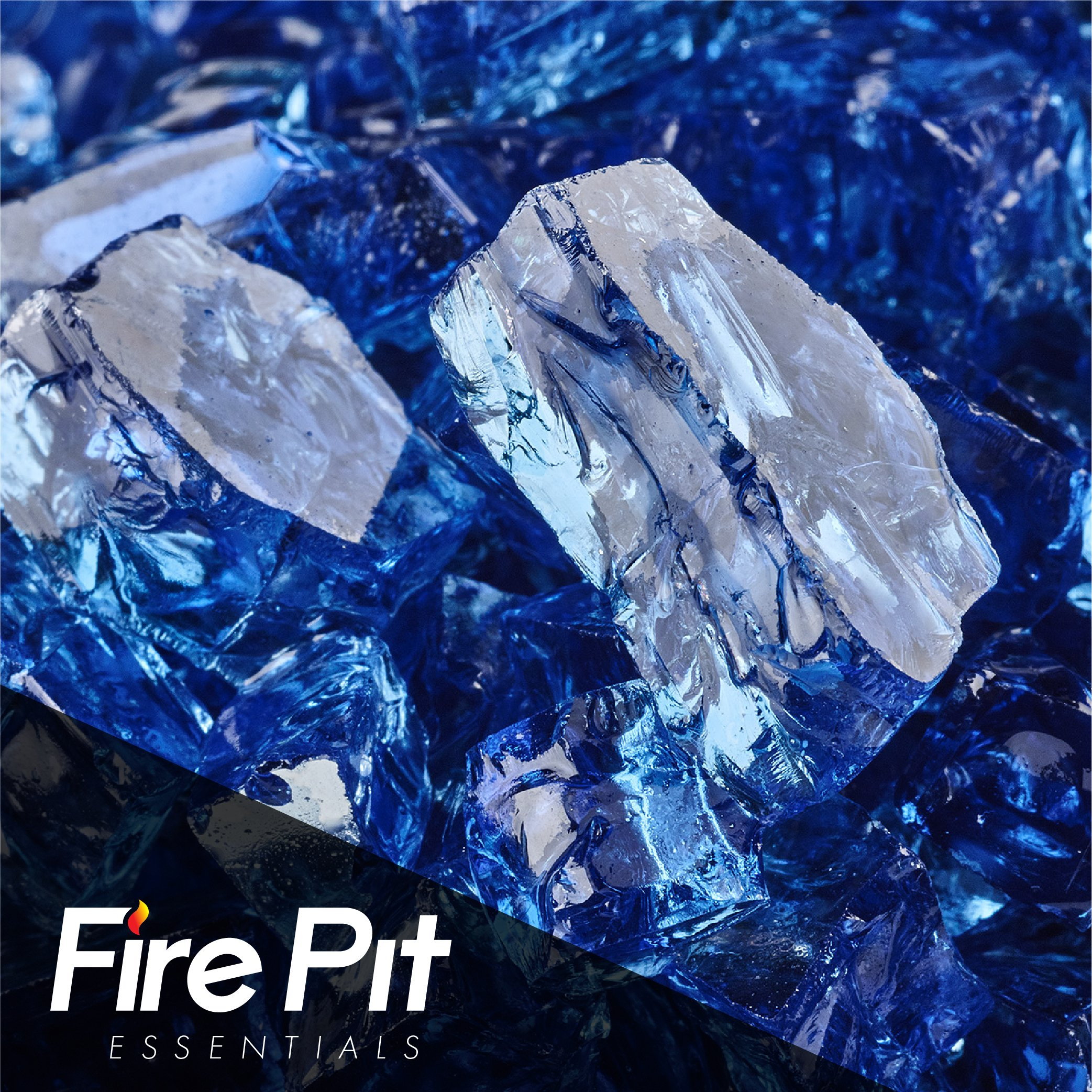 1/2'' Cobalt Blue Reflective Fire Glass for Fire Pit or Fireplace 10 Pounds of Fireglass
