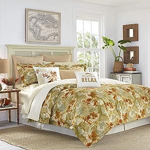 Tommy Bahama Loredo Gardens Comforter Set, Queen, Orange