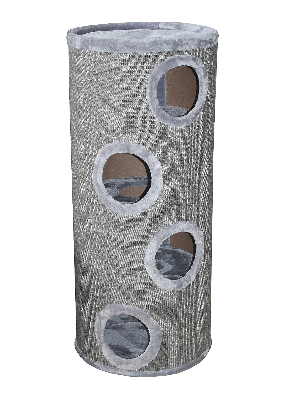Petrebels Kratzbaum Champions Only Giant Dome 120 grau. Extra schwer. 55x55cm/Höhe 120cm. Katzenkratzbaum als Kratzbaumtonne XXL für alle Katzen auch für Maine Coon. Stabile Bodenplatte 4cm Höhe. Hochwertiger Qualitäts-Sisalteppich in Plüschfarbe. Extra großer Durchmesser mit 55 cm.