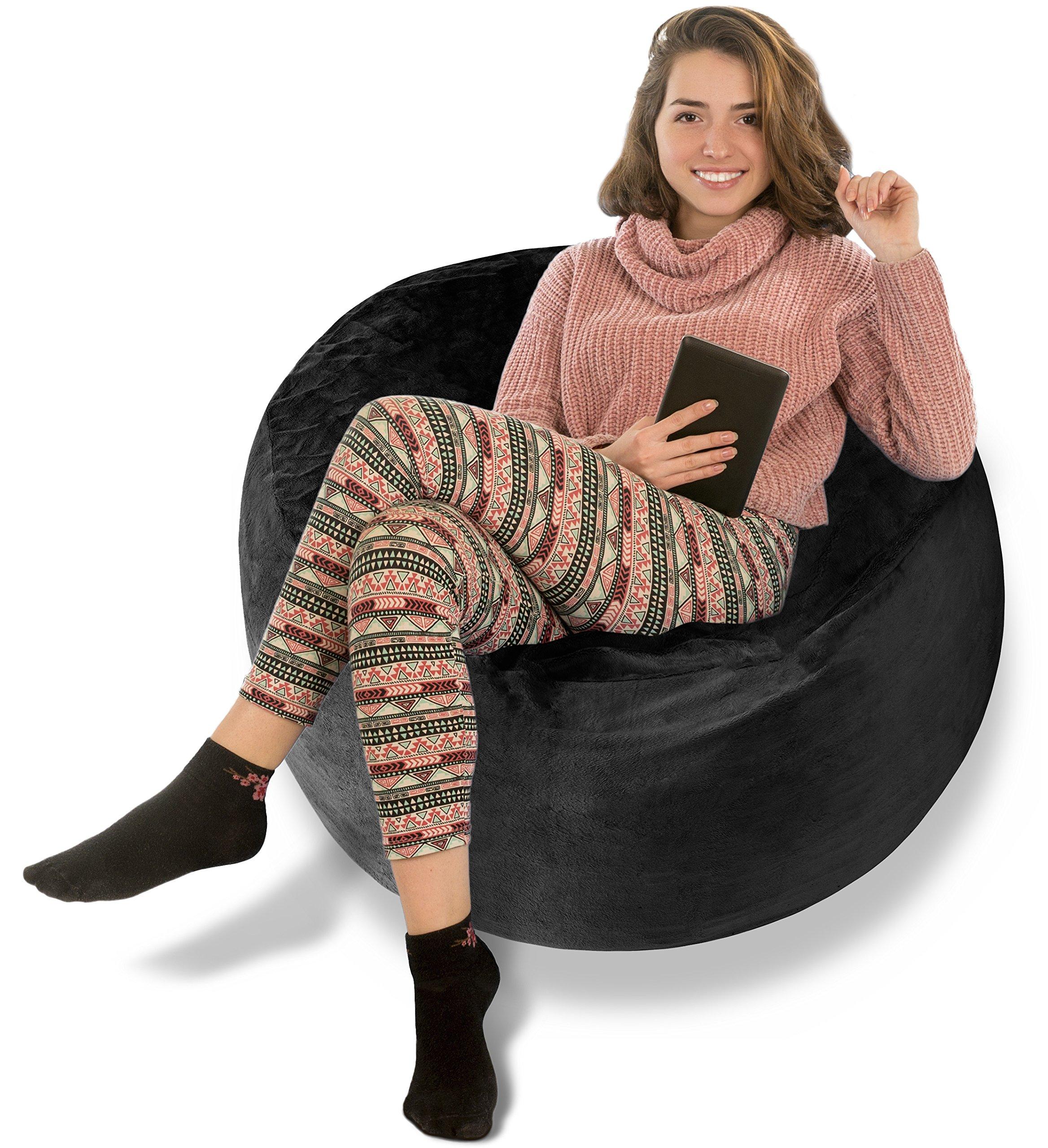 BeanBob Bean Bag Chair (Limo Black), 3ft - Bedroom Sitting Sack for Kids & Adults w/Super Soft Foam Filling