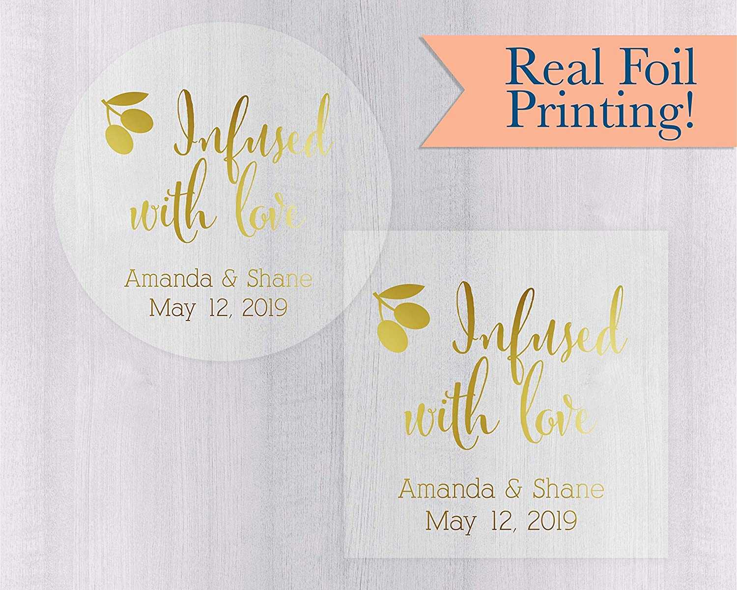#083-CF Infused with Love Olive Oil Foiled Clear Transparent Wedding Favor Stickers