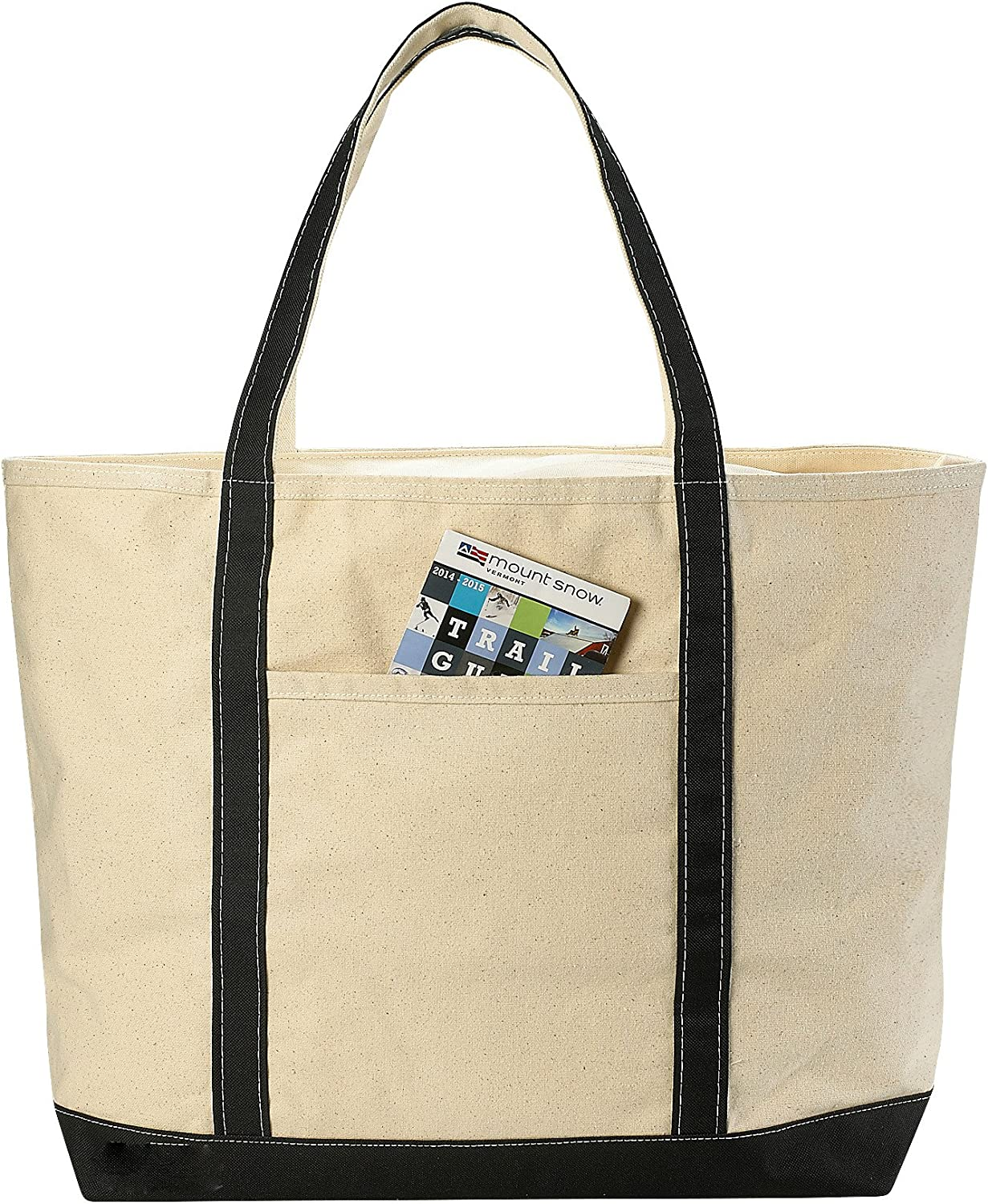 Handy Laundry Canvas Tote Beach Bag - Pockets and Shoulder Straps. (22 x 16 Inches)
